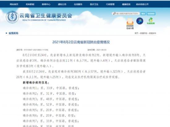 云南省2日新增本土新冠肺炎确诊病例2例